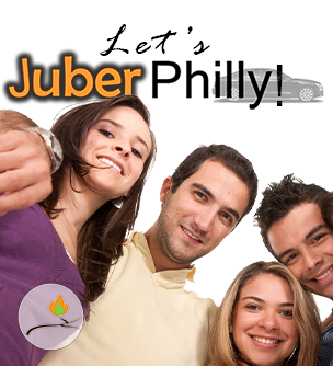 image showing young adults with Aish Chaim's Juber Philly logo