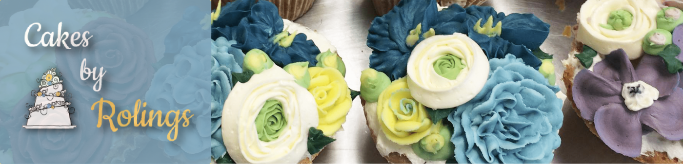 header showing logo for Roling's Bakery cakes with cropped photo of cupcakes
