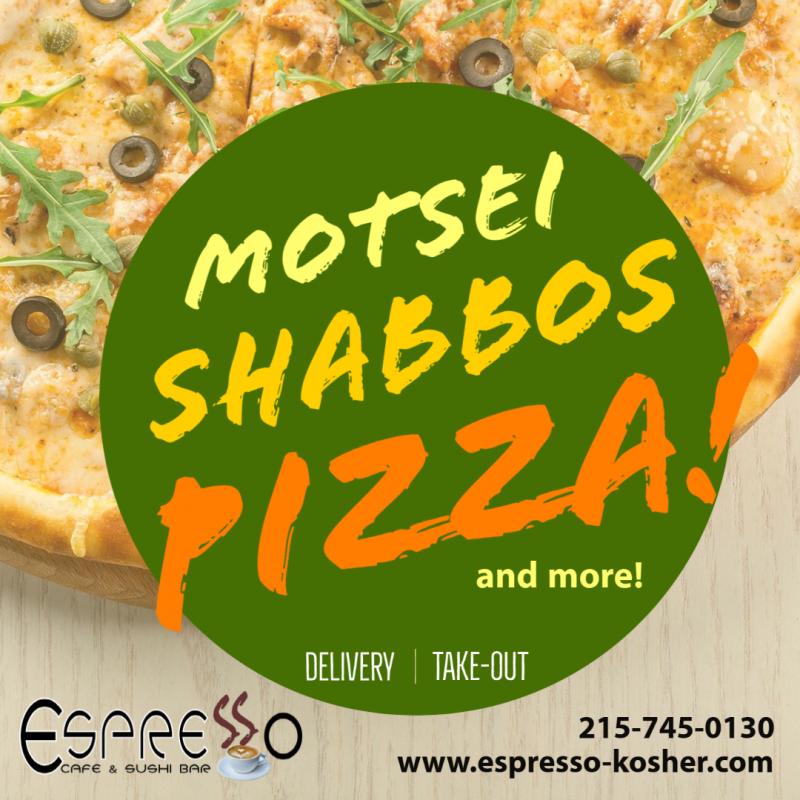 Image for web announcing motsei Shabbos pizza night for Espresso Cafe