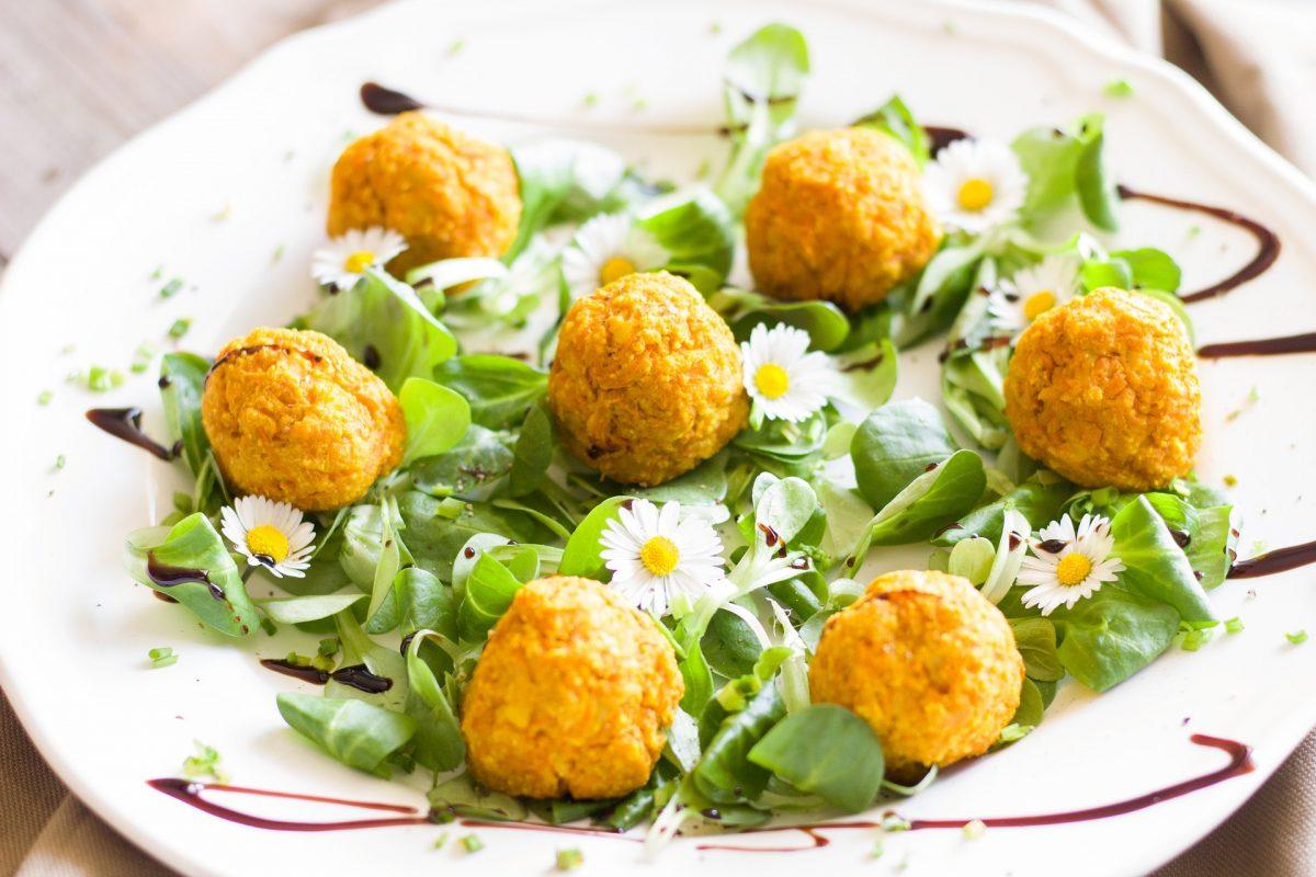 image of falafel balls on a bed of lettuce